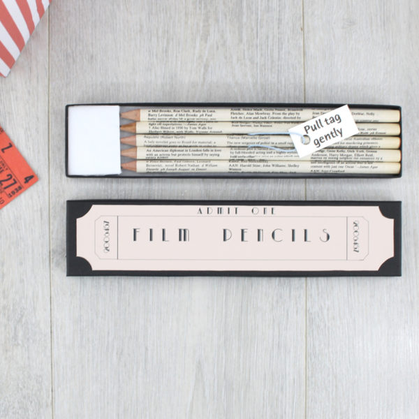 film gifts pencil set handmade in Ireland