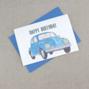 vw beetle happy birthday card for car fans
