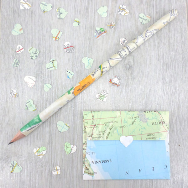 personalised map pencils gifts for paper wedding anniversary
