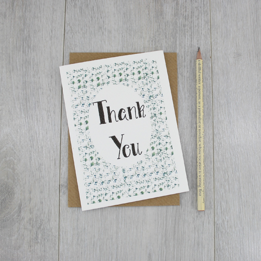 Thank You Card Handmade In Ireland By Sixsix Design