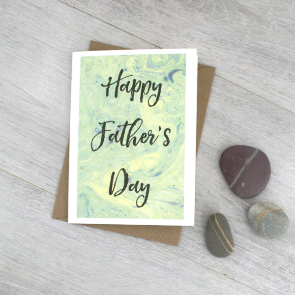 fathers day book card marbled paper note card by six 0 six design