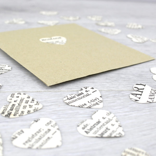 wedding confetti rustic wedding with a literary book theme. Dicitonary hearts by six0six design