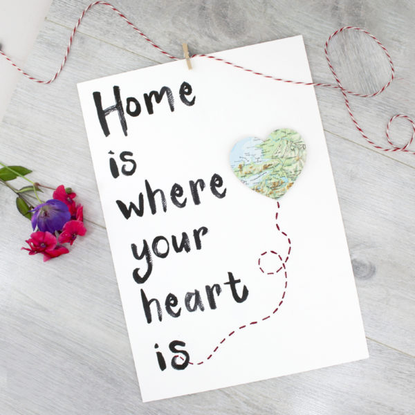 home is where your heart is map location print by six0six design