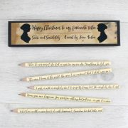personalised sense and sensibility writing pencils by six0six design