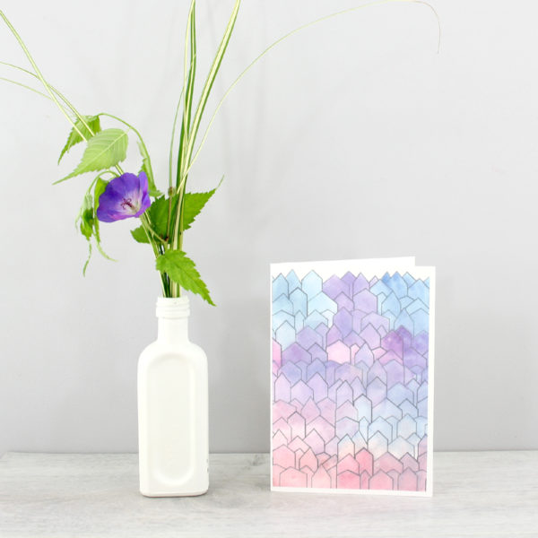 watercolour illustration house card by six0six design