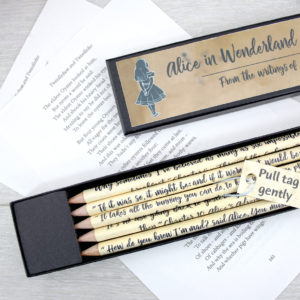 alice in wonderland gift pencil set by six0six design