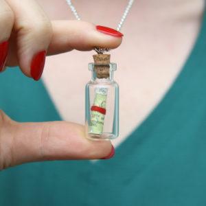 travel keepsake jewellery map in a bottle pendants