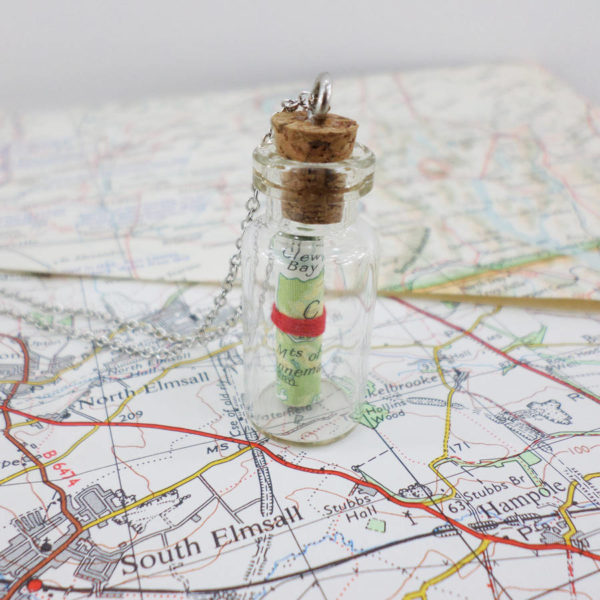 map memory in a bottle gift