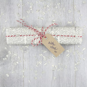 gift wrapping in vintage encyclopaedia pages