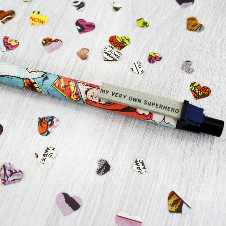 superhero gift for him. Comic book pen