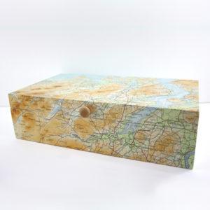 vintage map keepsake box handmade in Ireland