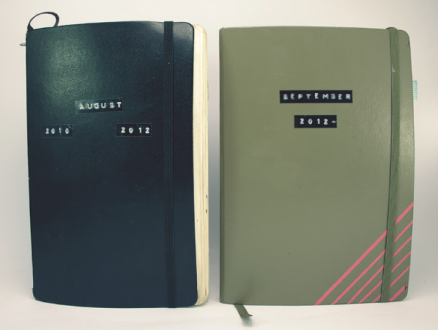 moleskine and leuchtturm notebooks dates on covers