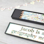 personalised map pencils sets for teachers and map lovers by six0six design