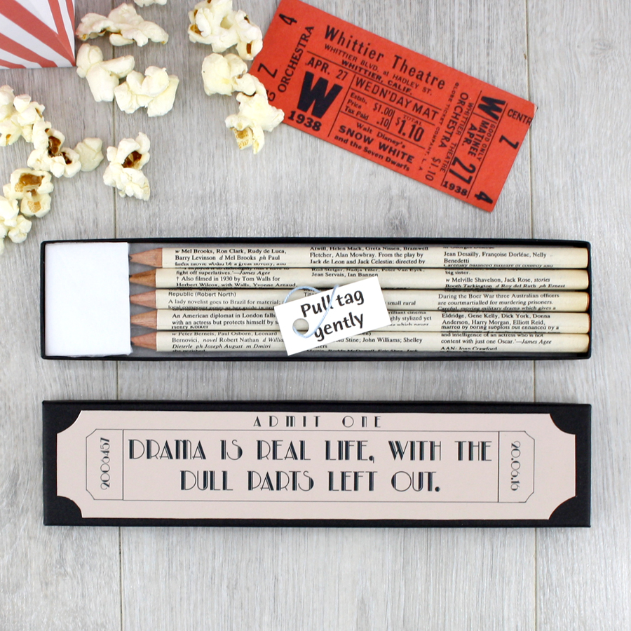 personalised film gifts pencil sets