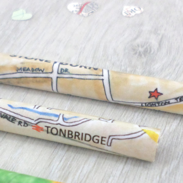 hand drawn one of a kind personalised map pencil gifts by six0six design