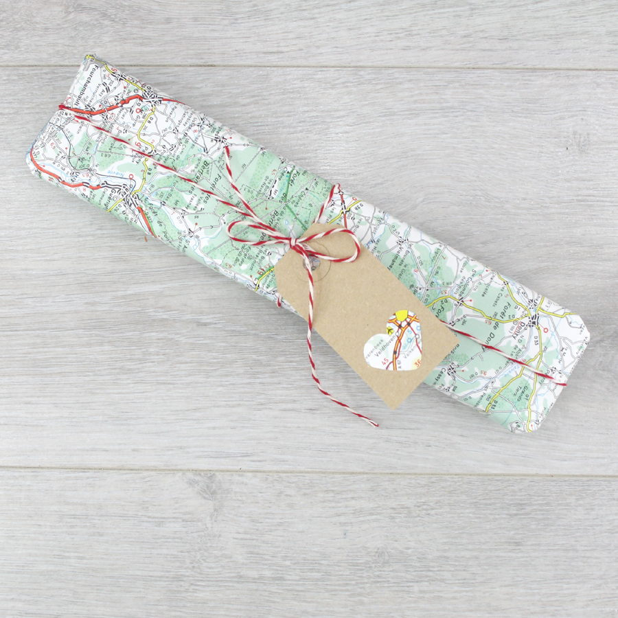 vintage map paper gift wrapping