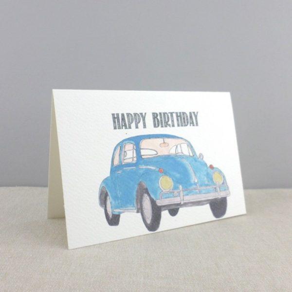 vintage blue beetle birthday card