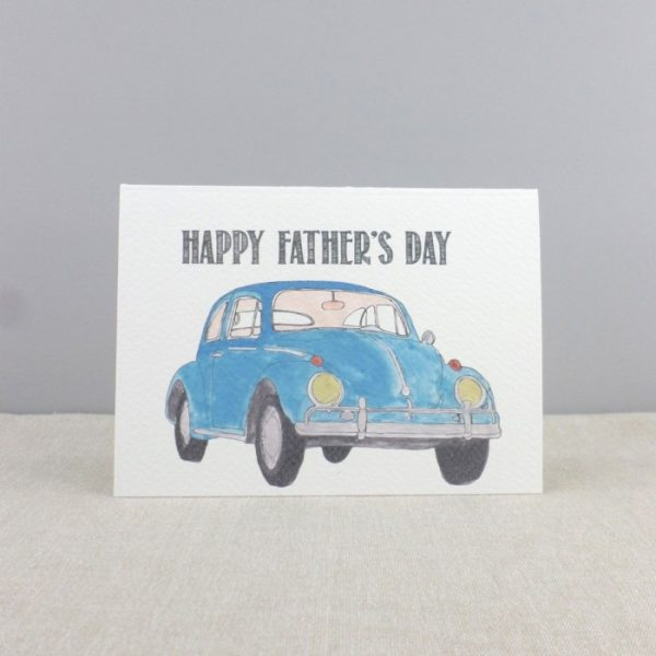 fathers day vintage car blue beetle card