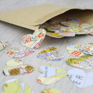 london map confetti hearts