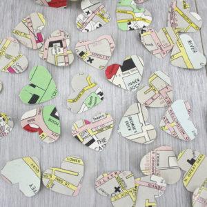 dublin map confetti made using vintage maps
