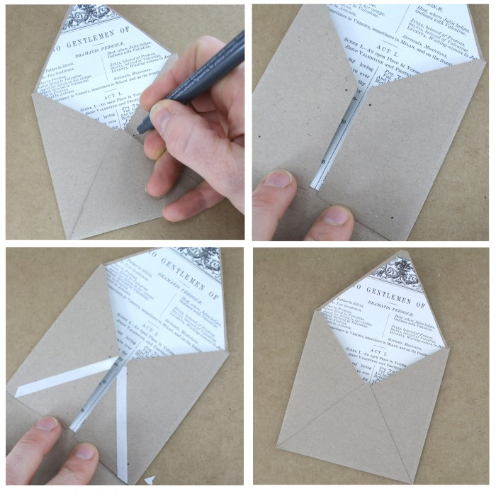 make your own envelope with matching confetti and lining