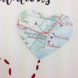map hearts for Irish wedding gifts