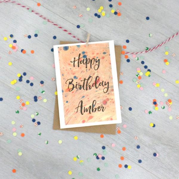 personalised marbled art greeting card