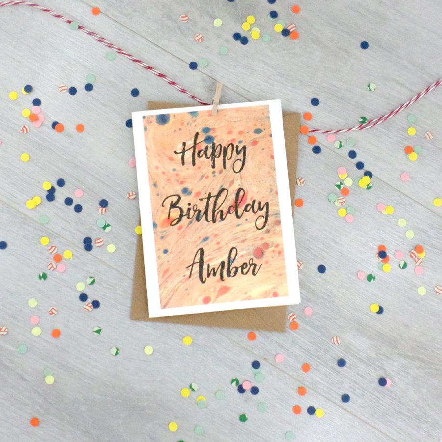 Marbled paper card personalised birthday card by six0six design personalised marbled art greeting card m4hsunfo