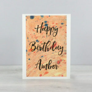 marbled paper birthday card