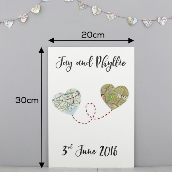 dimensions of your map travel print for wedding anniversary gifts