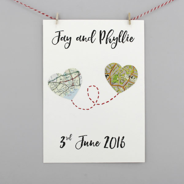 vintage map heart print for wedding anniversary gifts