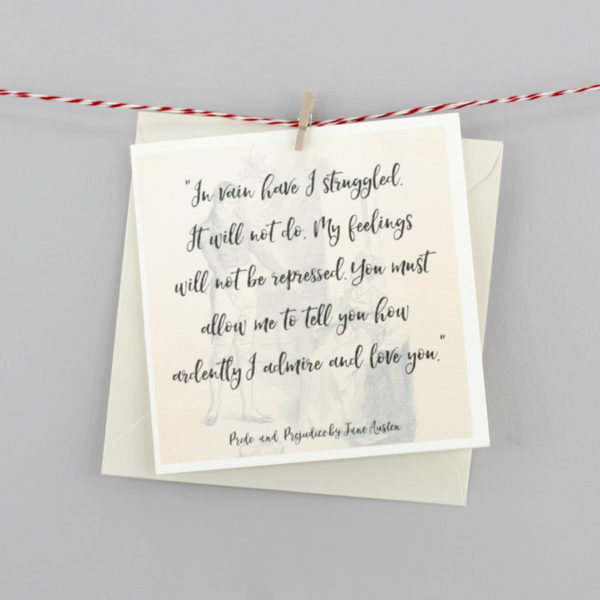 mr darcy quote card greeting cards for book lovers by six0six design