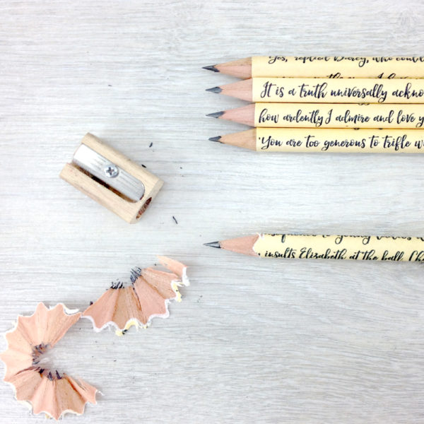 five HB pencils from pride and prejudice Jane Austen gifts