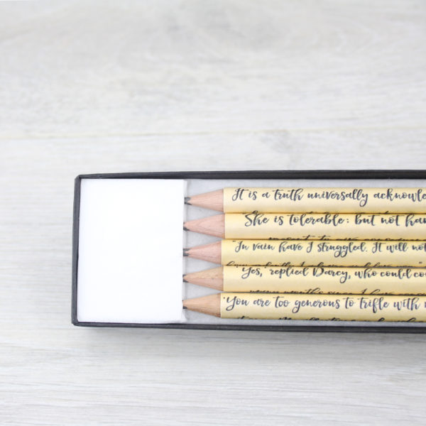 personalised jane austen quote pencils by six0six design