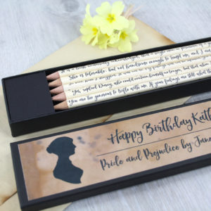 personalised pride and prejudice pencil sets