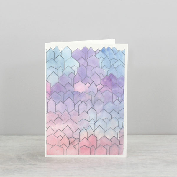 single blank greeting card pinks and purples blues and lavender colours