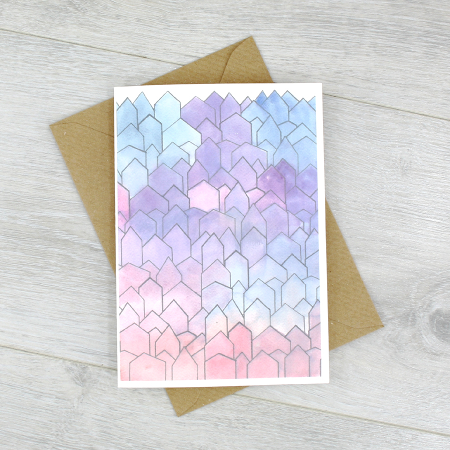 Watercolour houses card perfect housewarming card for new home watercolour greeting card blank inside by six0six design kristyandbryce Images
