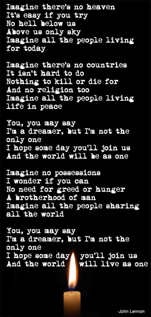 imagine lyrics inspirational quote by john lennon