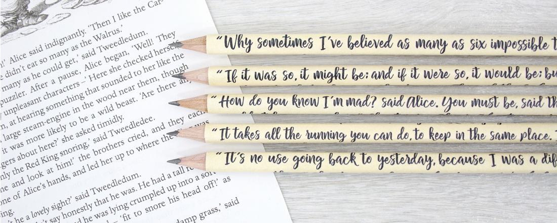 alice in wonderland gifts book quote pencils by six0six design