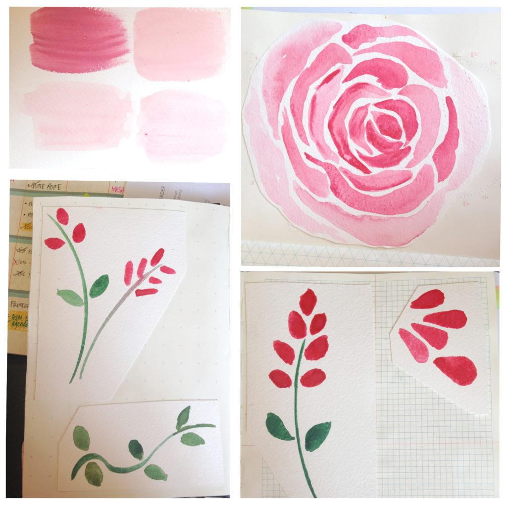 EMMA PENCILS design in process at six0six design watercolour floral design copy