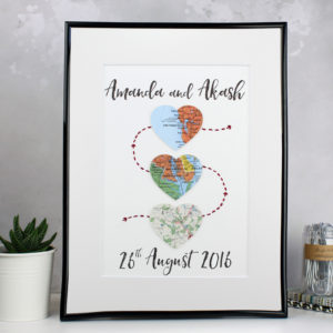 lifestyle shot of the three heart map artwork by six0six design