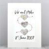 three heart map artwork met engaged married love wedding gifts by six0six design irish
