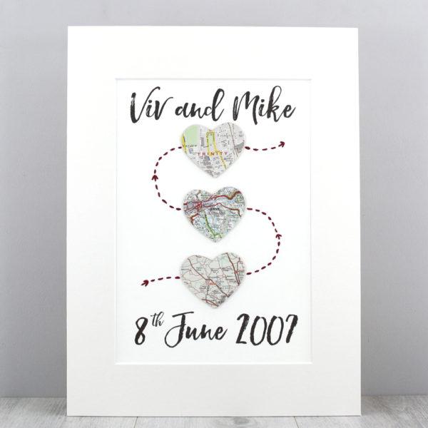 three heart map artwork met engaged married love wedding gifts by six0six design irish