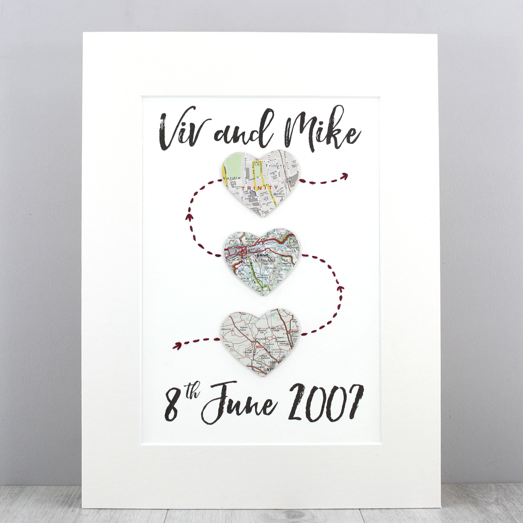 Irish Love Quotes Wedding Three Heart Map Artworkmet Engaged Married Map Print