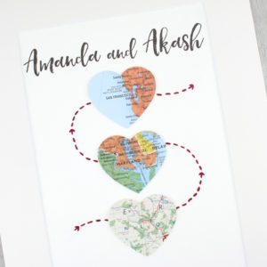 three heart map print life stages anniversary gift for couples six0six design