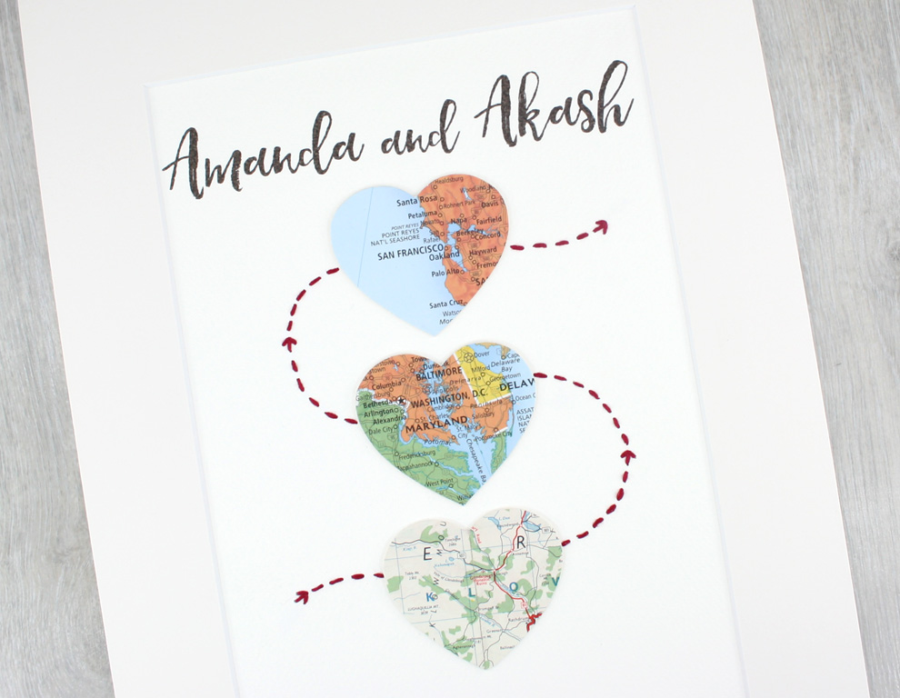 Three Heart Map Artwork Met engaged married map print