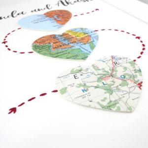 three map heart artwork met engaged married wedding gift six0sixdesign