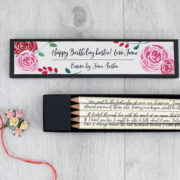 Emma quote pencils with personalised gift box six0six design 1