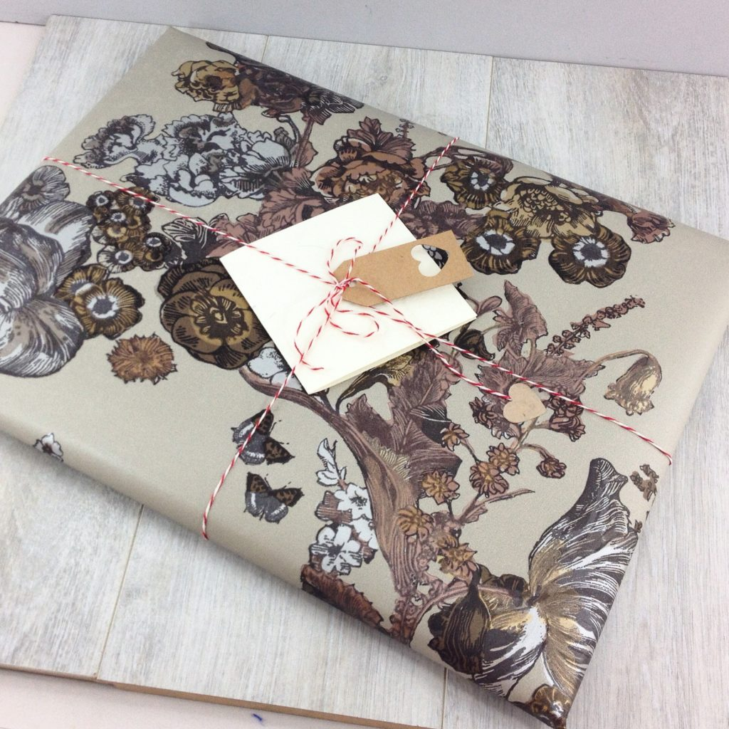 gift wrapping personalised anniversary print orders using luxury wallpaper