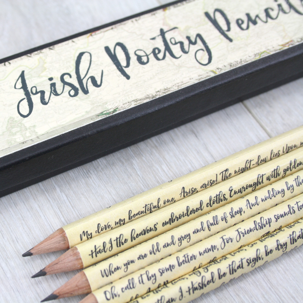 best loved famous irish poetry gift pencils six0six design stationery